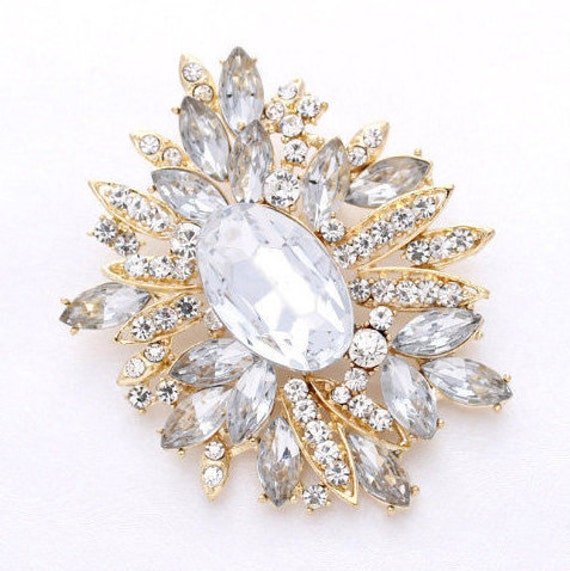 Gold Rhinestone Brooch Large Crystal Broach Bridesmaid Bride Etsy