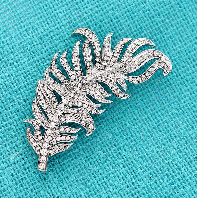 Diamante Rhinestone Silver Brooche Rhinestone Feather Brooch Feather Brooches Bridal Sash Brooch Silver Crystal Brooches for Bouquet