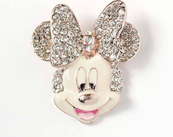 Rhinestone Mouse Brooch, Rhinestone Gold Minnie Broach, Cartoon Wedding Bouquet Brooches, Wedding Cake Decor, Gold Mickey Broaches