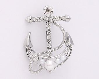 Crystal Pearl Anchor Brooch Beach Wedding Bridal Rhinestone Silver Anchor Broach DIY Jewelry Crafts Anchor Broaches