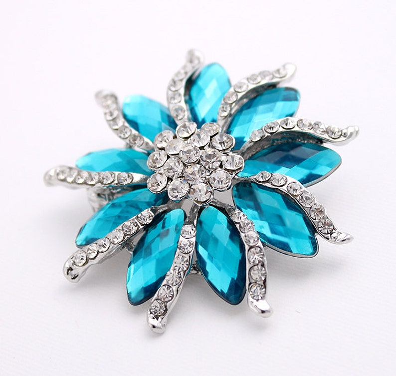 79852c6150b Blue Rhinestone Brooch Wedding Brooch Bridal Brooch Pin | Etsy