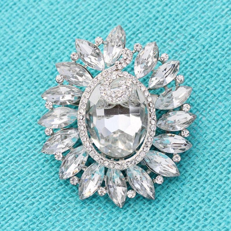 Crystal Rhinestone Brooch Wedding Bouquet Brooches Bridal Etsy