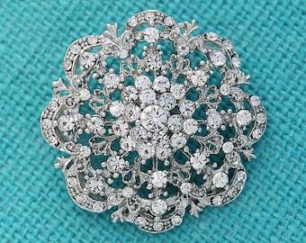 Crystal Wedding Brooch, Silver Rhinestone Crystal Brooches Pins, Bridal Pin Brooch, Vintage Wedding Brooches, Sparkling Bouquet Brooches