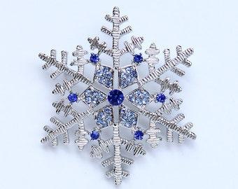 Crystal Blue Snowflake Brooch Royal Blue Christmas Winter Wedding Bridal Bridesmaid Broaches Boutonniere DIY Jewelry Rhinestone Snowflakes