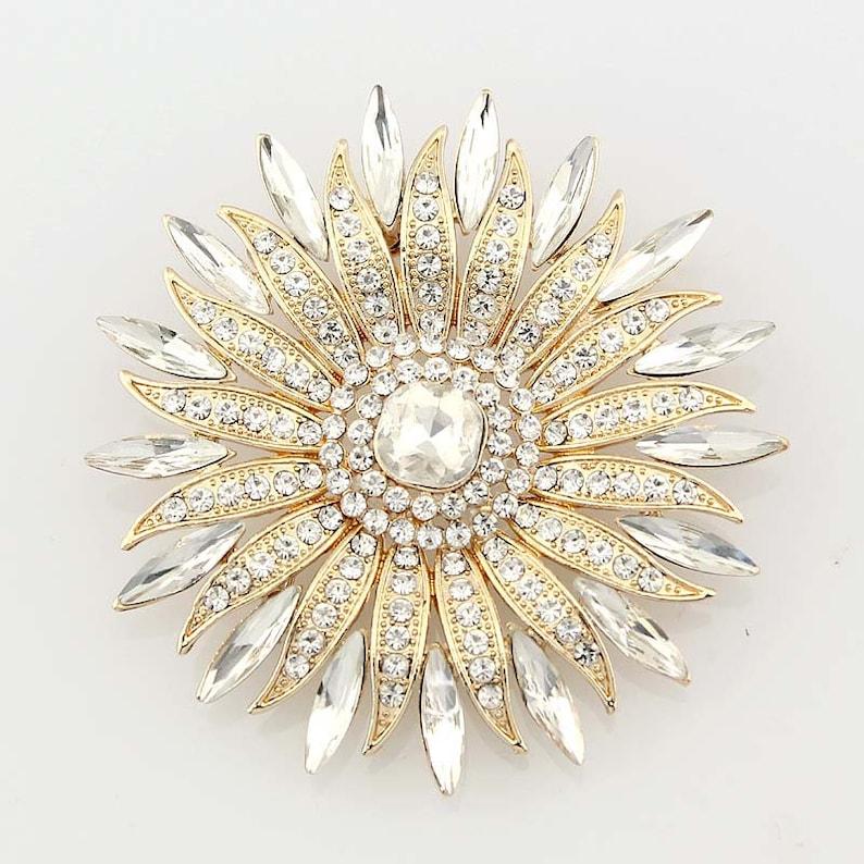 a9bdf40e0b3 Gold Crystal Rhinestone Brooch Gold Wedding Brooches Bridal | Etsy