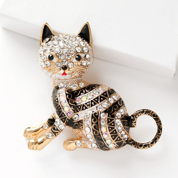 GLEEBROOCH Cat Brooches for Women Coat Fashion Accessories Rhinestone Pins for Party Workplace Lady Jewelry