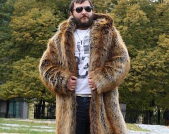 18312f1ef4f3 Hooded man faux fur coat   Long fake fur coat   Oversize faux fox jacket    Shaggy man coat  Festival Burning Man costume  Playa coat