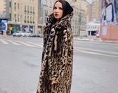 Faux fur jacket with bengal cat print Lapels faux leopard fur coat LAST PIECES SALE