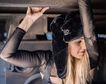 52ec6f38 Burning man faux fur hat / Burning man accessories / Playa ushanka hat / Festival  fake fur hat/ Furry hat / Aviator hat/ Trapper hat/