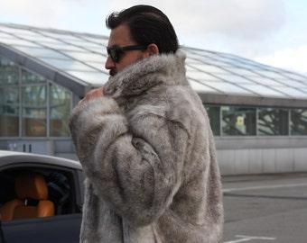 16382bd6a6 Faux fur man coat / Burning man coat / Playa coat / Warm man coat/ Fake fur  man jacket / Festival coat/ Wolf faux fur coat