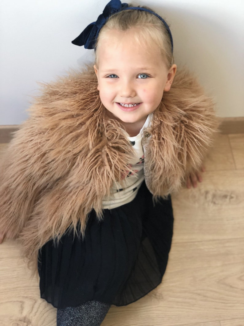 271175344 Teddy bear kids faux fur jacket   Baby girl fluffy coat   Tan