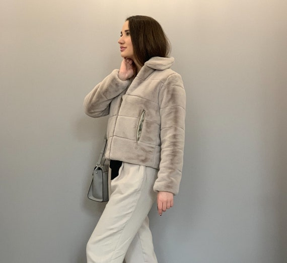 Mantel Chic Gesteppte Ausschnitt Schwarze Kunstpelz Pelz Ethische Kragen Pelzjacke Gefälschte Jacke Sport Abgeschnitten Vegan srxthQdCB