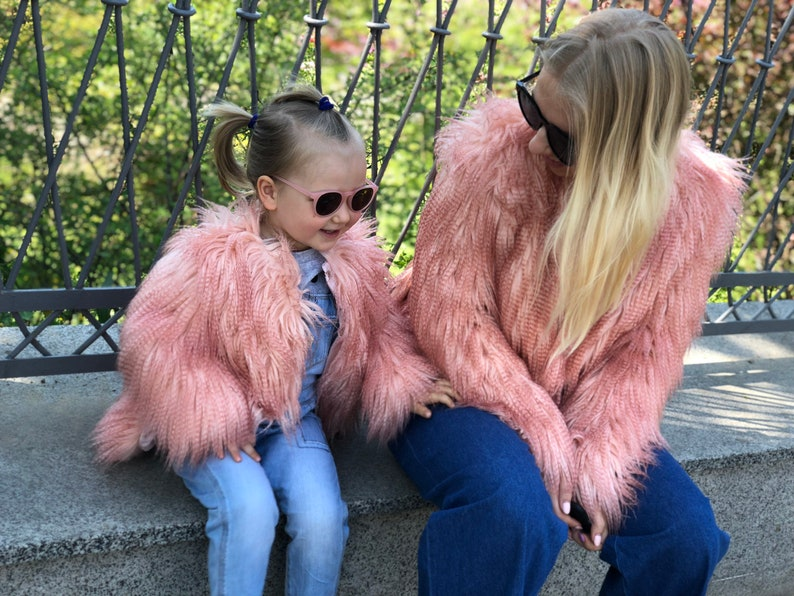 ea37c4e9d753 Peach pink baby coat  Kids faux fur coat  Girls