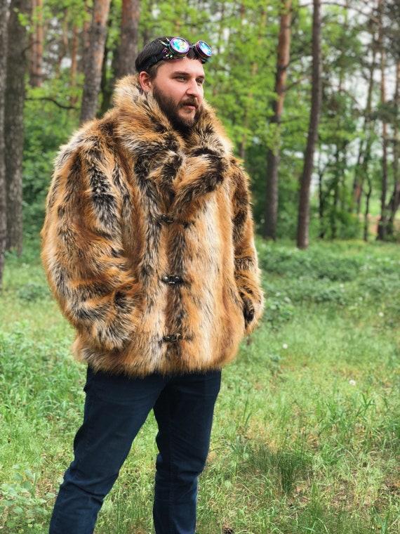 Faux Fuchs Männer Mantel Mann Kragen gefälschte Pelz Mantel Doppel Brust Jacke brennen Mann Mantel Festival Kostüm Playa Mantel Steampunk