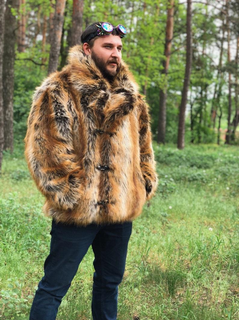 49c68bf7de2 Faux fox men coat  Man collar fake fur coat  Double Breasted
