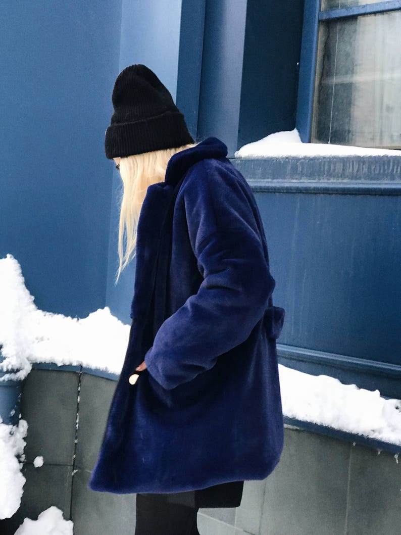 fb25bf10d Navy fluffy jacket  Blue sapphire coat  Colorful faux fur