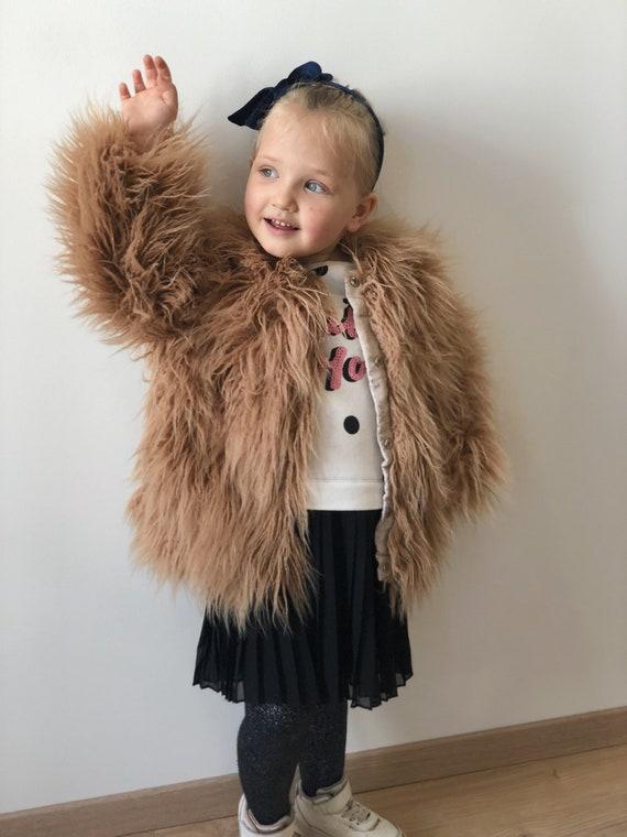 Beige hooded faux fur jacket Mens teddy bear coat with hood Shaggy jacket Burning man coat Gift for him Rave coat Afrikaburn