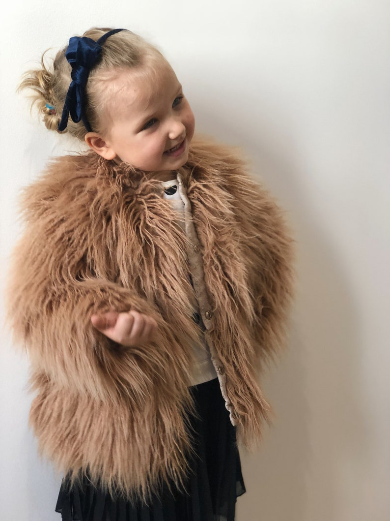 9860c25aa285 Kids faux fur coat  Toddler eco fur coat  Pink shaggy coat