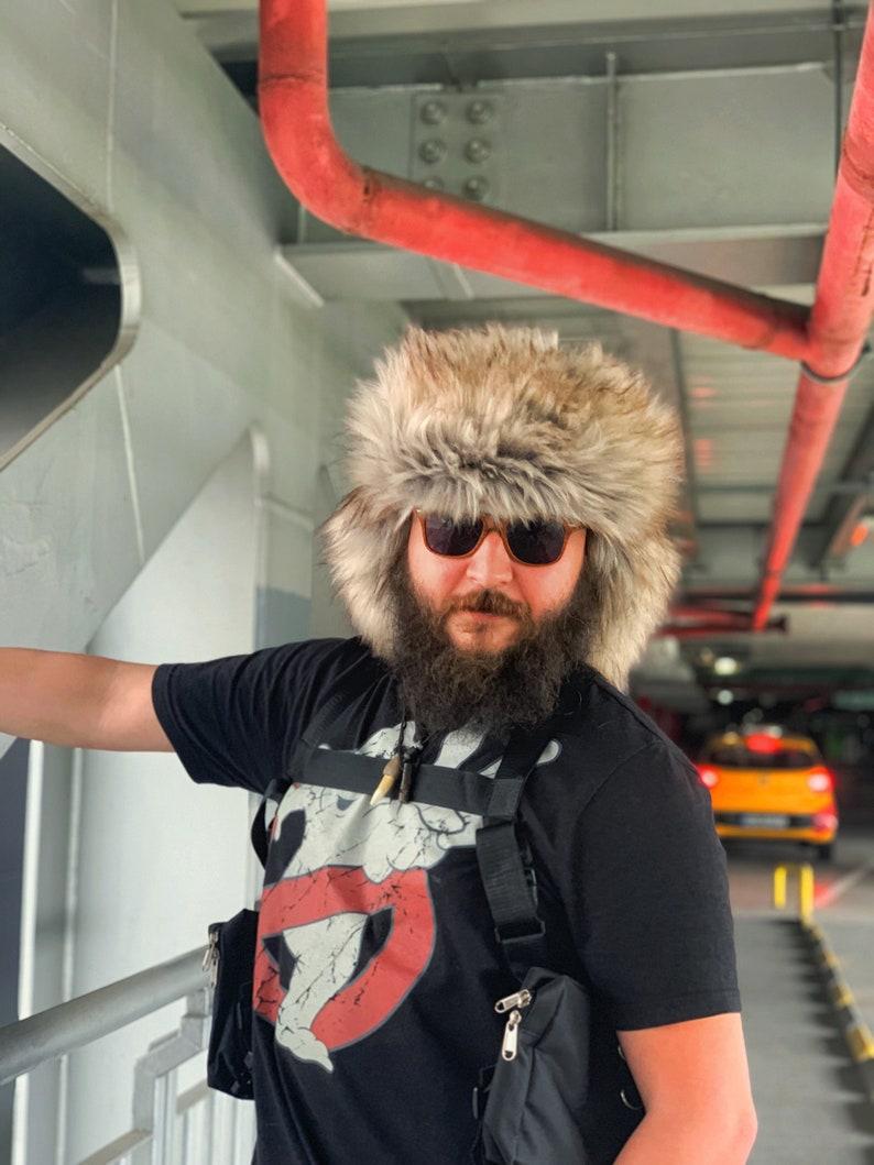 3905eb53 Festival hat / Ushanka hat / Man's faux coyote hat / | Etsy