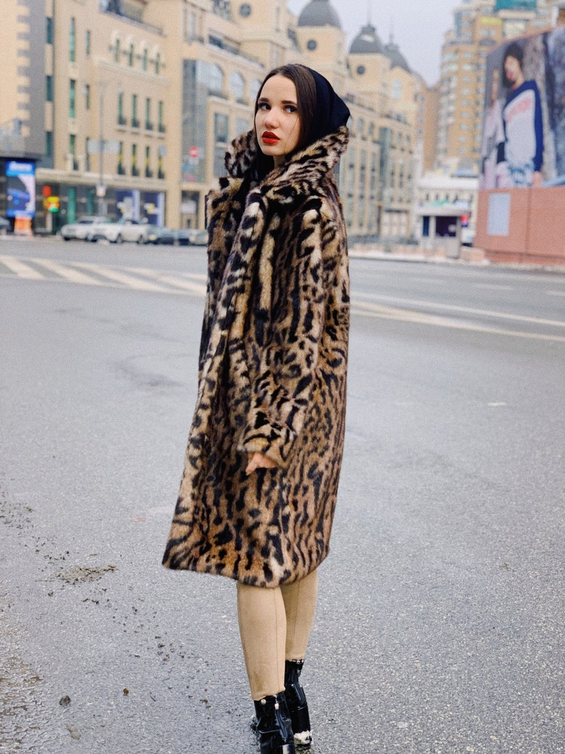 a52ff3680e5 Faux leopard fur coat  Faux fur jacket with bengal cat print