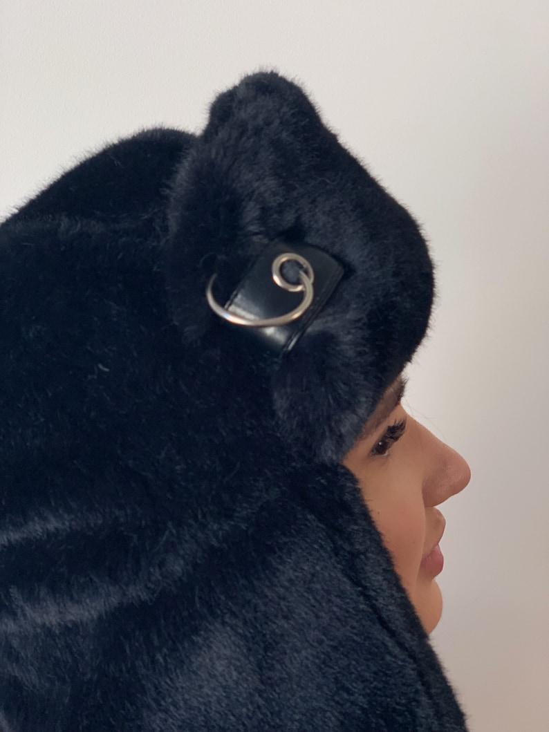 fd7b7d9e Black faux fur hat / Russian ushanka / Festival fake fur hat/ | Etsy