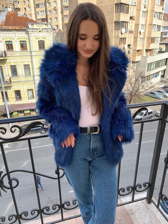 a9f00ae89 Manteau de fourrure bleu électrique avec col / courte veste chaude /  dernières pièces vente