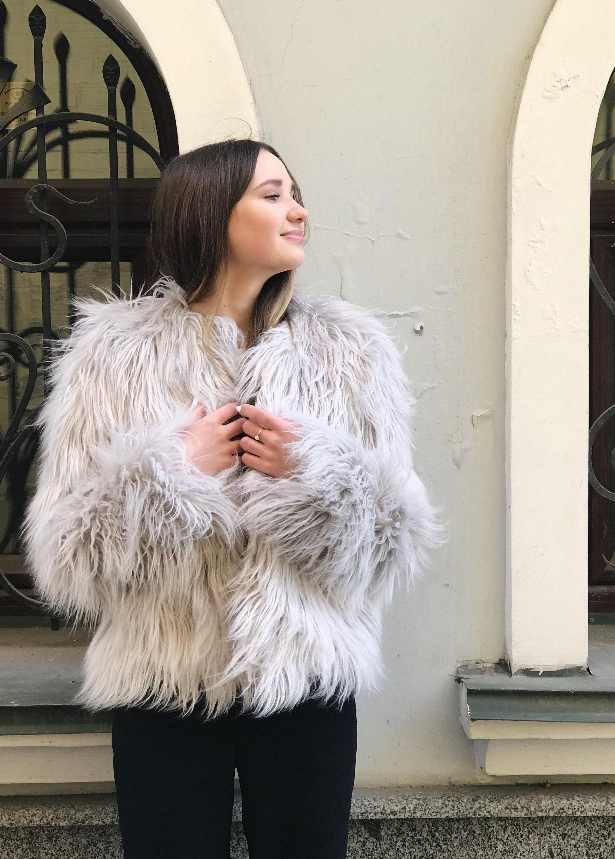 57c3ea46cfa Light gray faux fur jacket/ Ash fluffy coat/ Artificial fur | Etsy