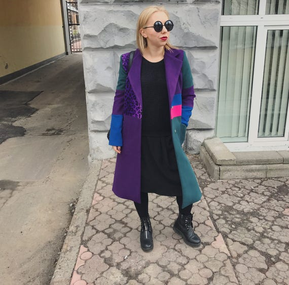 Colorblock Mantel Avantgarde Jacke Mantel lila Oversize Mantel lange Frauen Mantelmulticolor MantelRevers Farbblock Mantel double breasted