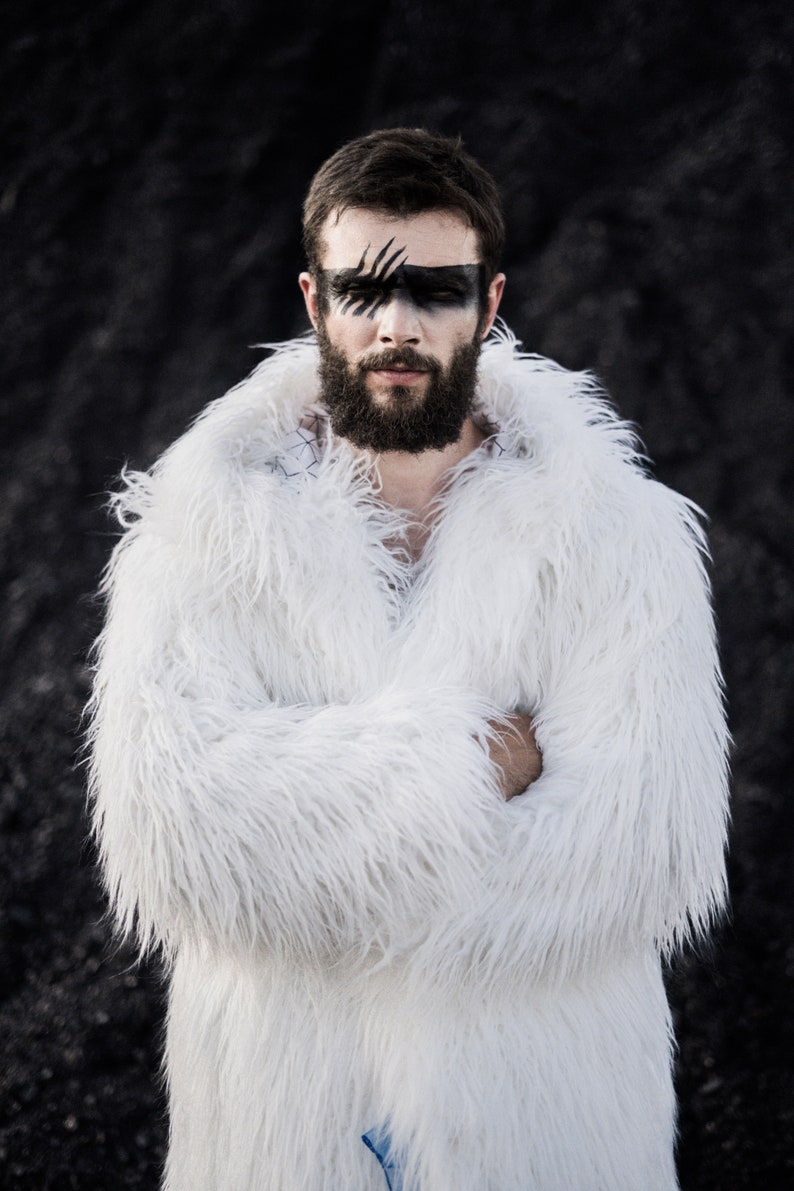 White faux fur coat with hood  Men hooded fake fur jacket  Burning man clothing  Festival outfit  Furry coat with back pack straps