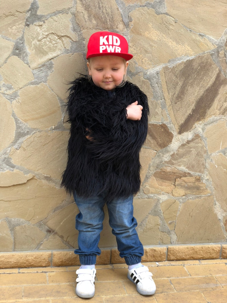 c69bd158f Black shaggy kid coat/ Babygirl faux fur coat/ Fluffy | Etsy