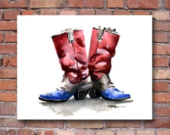Cowboy Boots Art Print - Watercolor Painting - - Signed by Artist DJ Rogers - Wall Decor