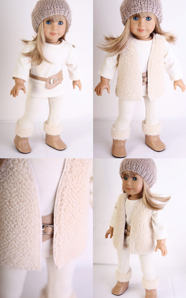 18 inch Girl Doll Clothes Shoes Purple Faux-Sherpa Boots American seller NEW