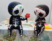 Sugar Skull Couple Figurine Hand Painted 3D Printed