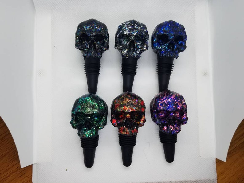Sugar Skull Wine Bottle Stopper Cork