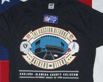 Vintage Deadstock 1980 s Oakland Raiders Houston Oilers Graphic T-Shirt  Medium Large NFL Football Alameda County Coliseum Helmet The Bay Cal c2d9a220b
