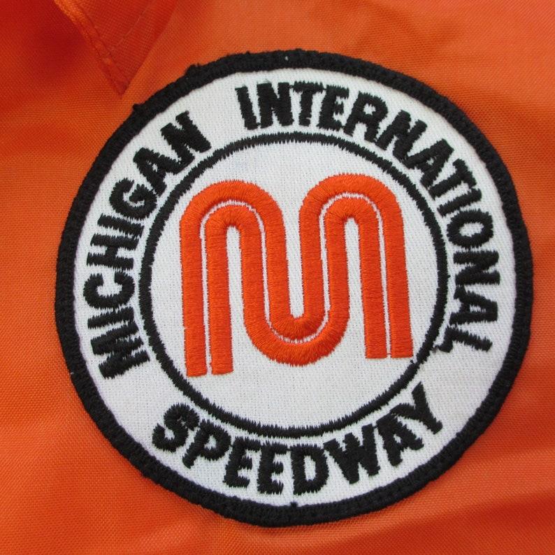Vintage 1960/'s Michigan International Speedway Striped Racing Jacket Small Orange Black Nylon Windbreaker Light Weight Drag Stock Car F1