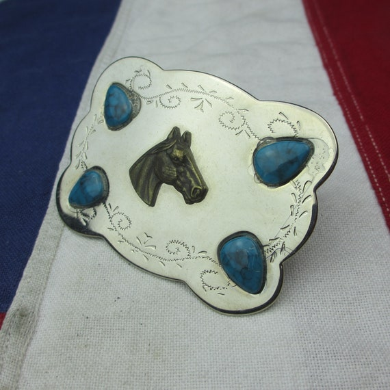 1950s  Horse Head Earrings  Sterling /& Turquoise  Southwestern Charms  Upcycle