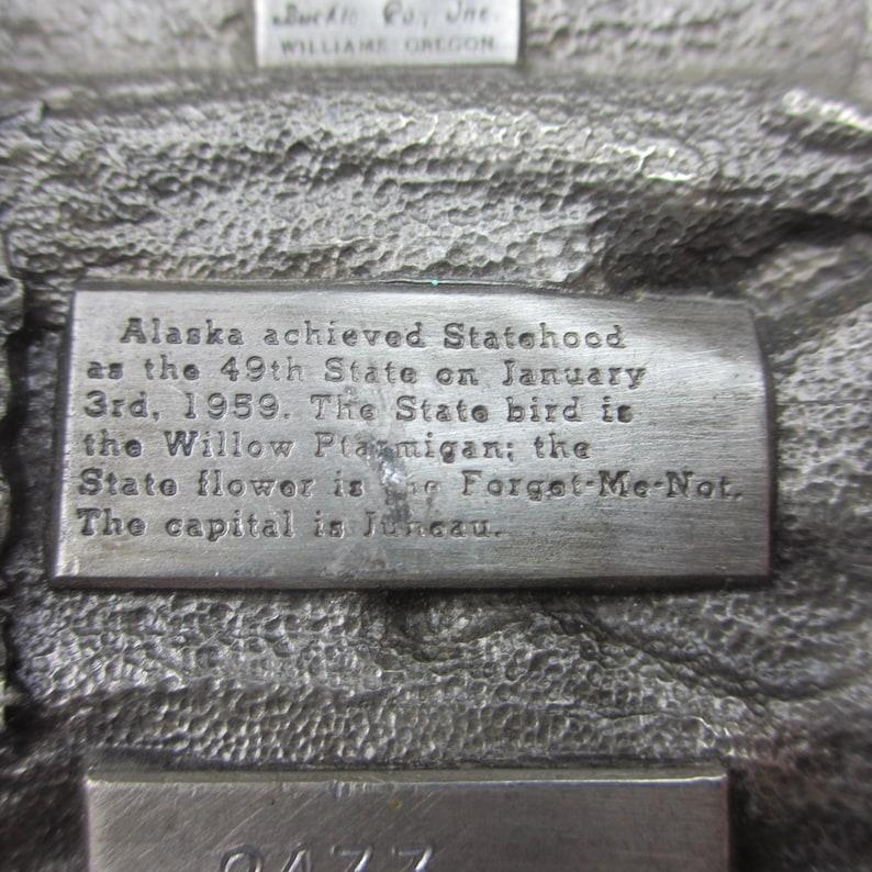Vintage 1980/'s Alaska 25 Years of Statehood Bull Moose Belt Buckle Wild Free Juneau Nome Sitka Gold Panning Reindeer Elk Mountain