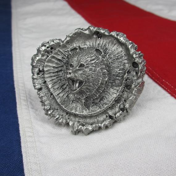 Elk Antler Crown Burr Casting Pewter Vintage Belt Buckle