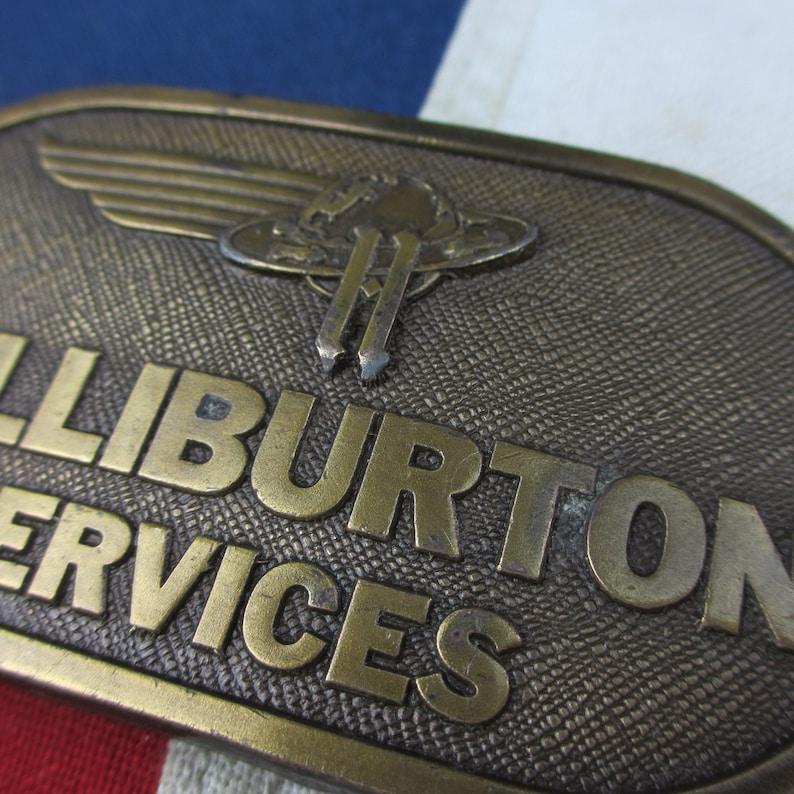 Vintage 1970/'s Halliburton Oil Field Services Logo Belt Buckle Solid Brass Bergamot Brass Works Jimm Watson Legendary Buckles Petroliana