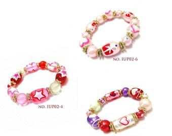 Heart Bracelet - Hearts Glass Beads Stretch Bracelet - 3 Styles Available
