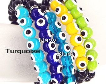 "Evil eye stretch bracelet/ Length 7"", 8mm hand painted glass beads / 10 colors for selection/ Free gift box"