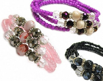 Women Wrap around Bracelets, Short Necklace / Multi Beads / 3 colors for selection / Free Gift Pouch