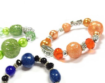 """Glittered Glass Beads Stretch Bracelet / Approx. 7.8"""" (inner circle) / 3 Colors for selection"""