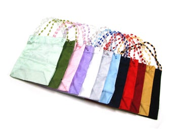 New Beaded Handles Sheer Ribbon Gift Bags 12 Colors Per Set