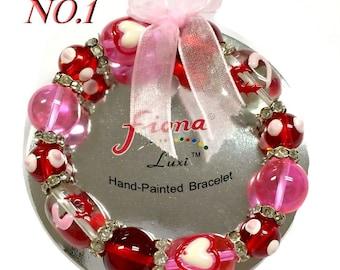 Valentine's Gift - Hearts Bracelet - Glass Beads Rhinestone Spacers Stretch Bracelet - 5 Styles Available