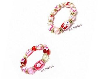 Heart Bracelet - Hearts Glass Beads Stretch Bracelet - 2 Styles Available