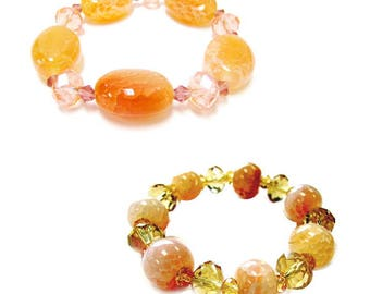 Semi-Precious Bracelets - Semiprecious Agate Stone Crystal Beads Bracelet - Gemstone Stretch Bracelet 2 styles available