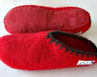 0c16962bc57 Felt Slippers (open back!) with leather or car tube rubber soles to ORDER