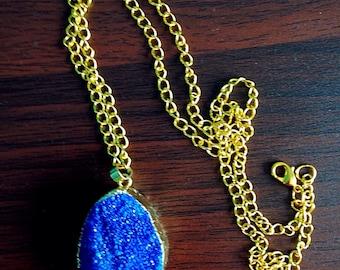 Dark Blue Druzy  gold necklace